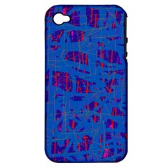 Deep Blue Pattern Apple Iphone 4/4s Hardshell Case (pc+silicone) by Valentinaart