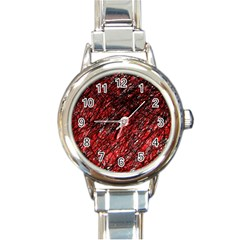 Red And Black Pattern Round Italian Charm Watch by Valentinaart