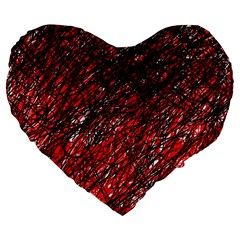 Red And Black Pattern Large 19  Premium Heart Shape Cushions by Valentinaart