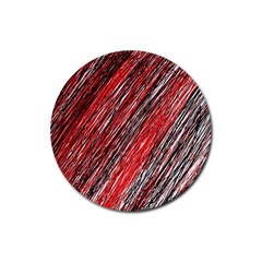 Red And Black Elegant Pattern Rubber Coaster (round)  by Valentinaart