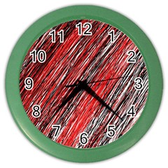 Red And Black Elegant Pattern Color Wall Clocks by Valentinaart