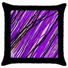 Purple Pattern Throw Pillow Case (black) by Valentinaart
