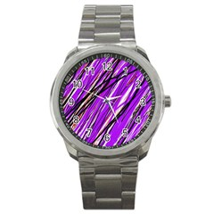 Purple pattern Sport Metal Watch