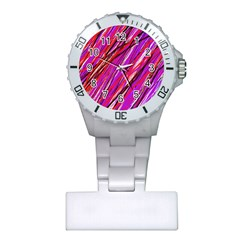 Purple Pattern Plastic Nurses Watch by Valentinaart