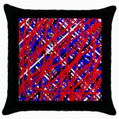 Red And Blue Pattern Throw Pillow Case (black) by Valentinaart