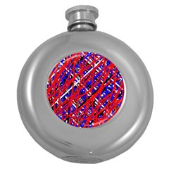 Red And Blue Pattern Round Hip Flask (5 Oz) by Valentinaart