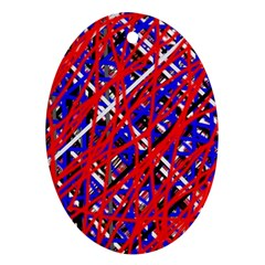 Red And Blue Pattern Oval Ornament (two Sides) by Valentinaart
