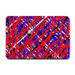 Red And Blue Pattern Small Doormat  by Valentinaart
