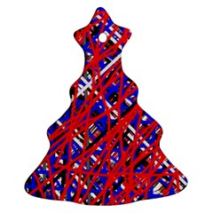 Red And Blue Pattern Christmas Tree Ornament (2 Sides) by Valentinaart