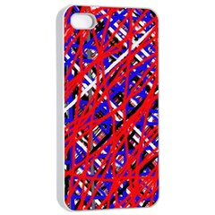Red And Blue Pattern Apple Iphone 4/4s Seamless Case (white) by Valentinaart