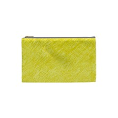 Yellow Pattern Cosmetic Bag (small)  by Valentinaart