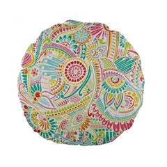 Hippie Flowers Pattern, Pink Blue Green, Zz0101 Standard 15  Premium Round Cushion  by Zandiepants
