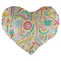 Hippie Flowers Pattern, Pink Blue Green, Zz0101 Large 19  Premium Heart Shape Cushion by Zandiepants