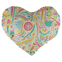 Hippie Flowers Pattern, Pink Blue Green, Zz0101 Large 19  Premium Flano Heart Shape Cushion by Zandiepants