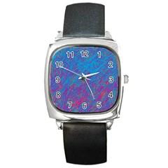 Blue Pattern Square Metal Watch by Valentinaart