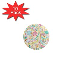 Hippie Flowers Pattern, Pink Blue Green, Zz0101 1  Mini Magnet (10 Pack)  by Zandiepants