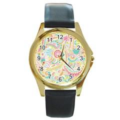 Hippie Flowers Pattern, Pink Blue Green, Zz0101 Round Gold Metal Watch by Zandiepants