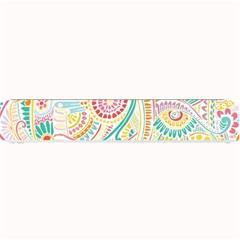 Hippie Flowers Pattern, Pink Blue Green, Zz0101 Small Bar Mat by Zandiepants