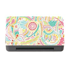 Hippie Flowers Pattern, Pink Blue Green, Zz0101 Memory Card Reader With Cf by Zandiepants