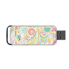 Hippie Flowers Pattern, Pink Blue Green, Zz0101 Portable Usb Flash (one Side) by Zandiepants