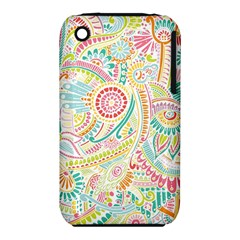 Hippie Flowers Pattern, Pink Blue Green, Zz0101 Apple Iphone 3g/3gs Hardshell Case (pc+silicone) by Zandiepants