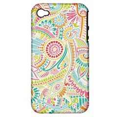 Hippie Flowers Pattern, Pink Blue Green, Zz0101 Apple Iphone 4/4s Hardshell Case (pc+silicone) by Zandiepants