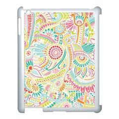 Hippie Flowers Pattern, Pink Blue Green, Zz0101 Apple Ipad 3/4 Case (white) by Zandiepants