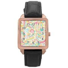 Hippie Flowers Pattern, Pink Blue Green, Zz0101 Rose Gold Leather Watch  by Zandiepants