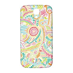 Hippie Flowers Pattern, Pink Blue Green, Zz0101 Samsung Galaxy S4 I9500/i9505  Hardshell Back Case by Zandiepants