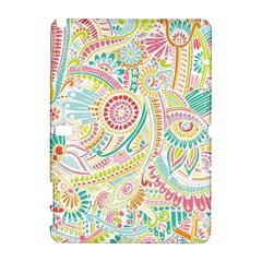 Hippie Flowers Pattern, Pink Blue Green, Zz0101 Samsung Galaxy Note 10 1 (p600) Hardshell Case by Zandiepants