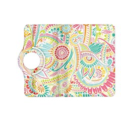 Hippie Flowers Pattern, Pink Blue Green, Zz0101 Kindle Fire Hd (2013) Flip 360 Case by Zandiepants