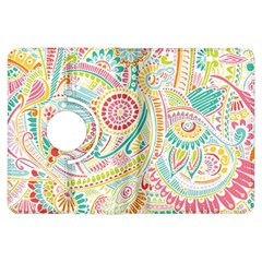 Hippie Flowers Pattern, Pink Blue Green, Zz0101 Kindle Fire Hdx Flip 360 Case by Zandiepants