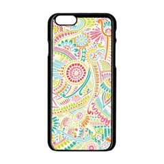Hippie Flowers Pattern, Pink Blue Green, Zz0101 Apple Iphone 6/6s Black Enamel Case by Zandiepants