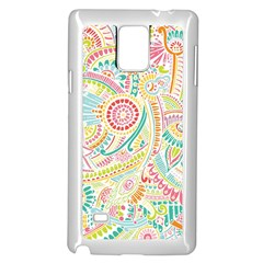 Hippie Flowers Pattern, Pink Blue Green, Zz0101 Samsung Galaxy Note 4 Case (white) by Zandiepants