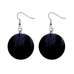 Dark Scene Illustration Mini Button Earrings by dflcprints