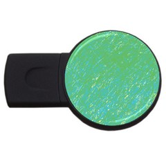 Green Pattern Usb Flash Drive Round (4 Gb)  by Valentinaart