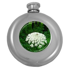 Beetle And Flower Round Hip Flask (5 oz) by randolpheckel