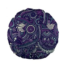Purple Hippie Flowers Pattern, Zz0102, Standard 15  Premium Round Cushion  by Zandiepants