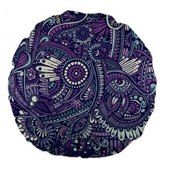 Purple Hippie Flowers Pattern, Zz0102, Large 18  Premium Round Cushion  by Zandiepants