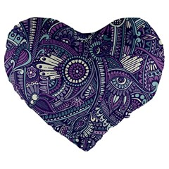 Purple Hippie Flowers Pattern, Zz0102, Large 19  Premium Heart Shape Cushion by Zandiepants