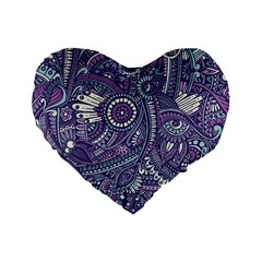 Purple Hippie Flowers Pattern, Zz0102, Standard 16  Premium Flano Heart Shape Cushion  by Zandiepants
