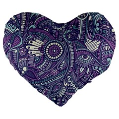 Purple Hippie Flowers Pattern, Zz0102, Large 19  Premium Flano Heart Shape Cushion by Zandiepants