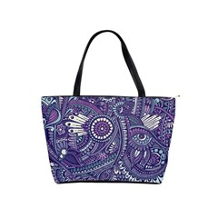 Purple Hippie Flowers Pattern, Zz0102, Classic Shoulder Handbag by Zandiepants