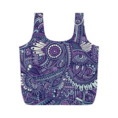 Purple Hippie Flowers Pattern, Zz0102, Full Print Recycle Bag (m) by Zandiepants