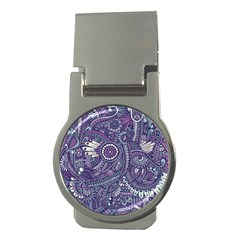 Purple Hippie Flowers Pattern, Zz0102, Money Clip (round) by Zandiepants