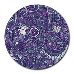 Purple Hippie Flowers Pattern, Zz0102, Round Mousepad by Zandiepants
