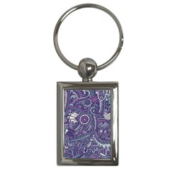 Purple Hippie Flowers Pattern, Zz0102, Key Chain (rectangle) by Zandiepants