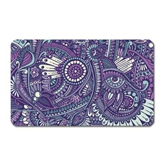 Purple Hippie Flowers Pattern, Zz0102, Magnet (rectangular) by Zandiepants