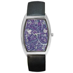 Purple Hippie Flowers Pattern, Zz0102, Barrel Style Metal Watch by Zandiepants