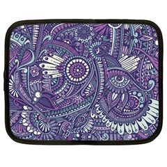 Purple Hippie Flowers Pattern, Zz0102, Netbook Case (xxl) by Zandiepants